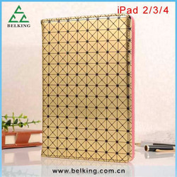 Button Diomand pattern leather case for ipad 2 3 4, wallet leather case for ipad 4