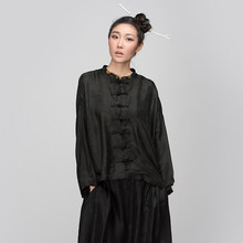 Jiqiuguer 2015 latest original design women blouse black long sleeve coat stand collar casual coat single breasted top fashion