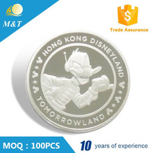 High quality customized round souvenir Silver animal coin with box