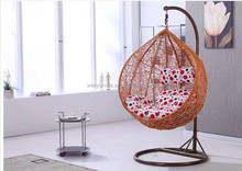 latest design wholesale rattan swing chair +indoor indian swing with comfortable cushion for rattan chair