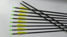 Wholesale yellow Carbon Arrow 80cm Turkey Feathers Iron Arrowhead 20~70lbs Shooting Equipment Hunting Archery Arrows Bow