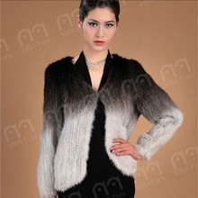 Woman's knitted mink fur coats with color changing gradually