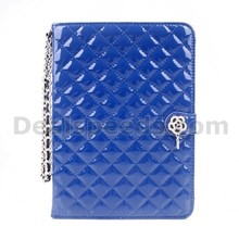Checked Plaid Camellia Rhinestone Leather Wallet Cover for iPad 2/3/4