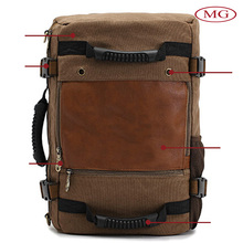 Outdoor hiking bagpacks canvas backpacks for men decorated cowhide genuine leather