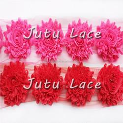 "Wholesale rosette Flower By The Yards,3"" Glitter Shabby Rosette Flower fabric flowers wholesale handmade flower"