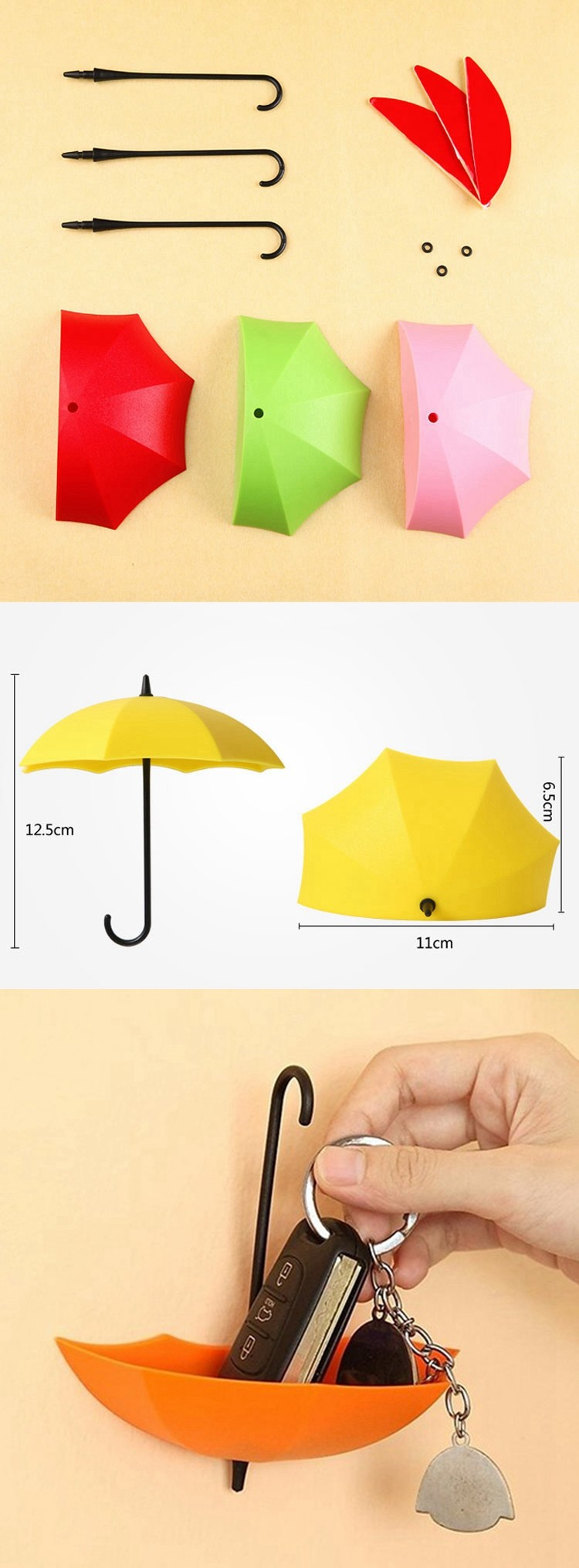 Colorful Glue Stickers Hat Umbrella Hooks Wall Stickers Nail Plastic ...