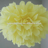 Butter Hanging tissue paper pom poms for baby showers decoration