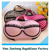 EVA Material Protect Bra Underwear Lingerie Case Storage Travel Organizer Bag (Pink Dots)