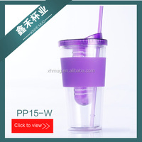 16OZ/20OZ/24OZ BPA FREE DOUBLE WALL ADVERTISING THERMAL PLASTIC WATER BOTTLE INFUSER TUMBLER WITH SILICON SLEEVE