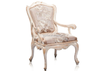Luxury French Style Chair, Royal Wooden Fabric White Dining Room Chair
