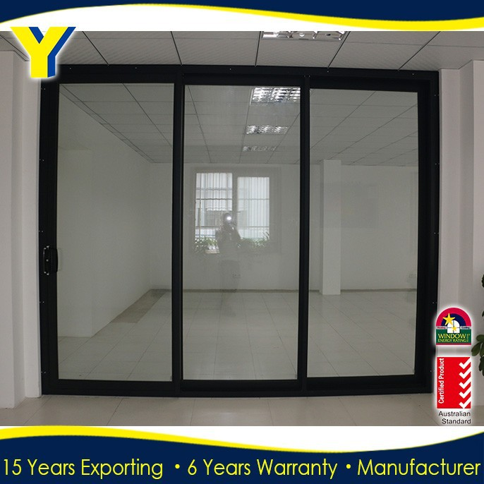 Aluminium three panel sliding glass door double glazed for 3 sliding glass doors