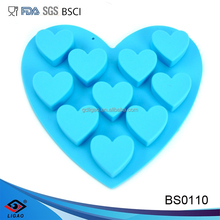 silicone popular and beautiful ice cube trays or chocolate mould with heart shape