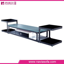 Living room furniture stainless steel leg tempered glass top stainless steel and glass TV stand