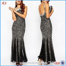 woman wear luxurious black mesh sequin fishtail halter maxi dress turkish evening dresses ladies long evening party wear gown