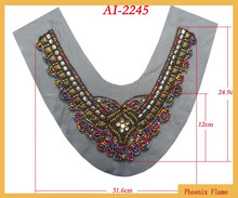 2015 fancy beaded applique with color beads and antique brass studs for holiday dress AI-2245