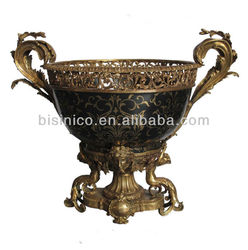Luxurious Porcelain W Brass Flowrpot With Applied Fairy As Pedestal,Full Hnad Painted Flower Pot/Fruit Bowl W Brass Mouthed Edge