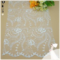 DH-BF391 Vintage Scalloped Wedding Lace Fabric/Birdal Dress Lace/Retro Embroidery Lace Fabric