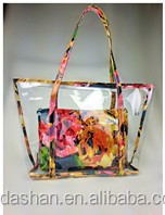 2015 most popluar new arrival cheap transparent folding plastic beach bag for woman