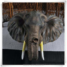 Resin Elephant Head Sculpture for Wall Hanging Decoration