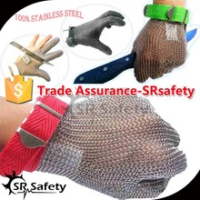 SRSAFETY stainless steel meat cutting gloves/stainless steel safety gloves/100% stainless steel gloves
