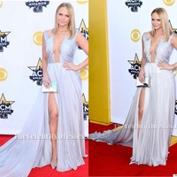 Celebrity Inspired Miranda Lambert ACMs 2015 Red Carpet Gown Sexy Silver Women Party Dress