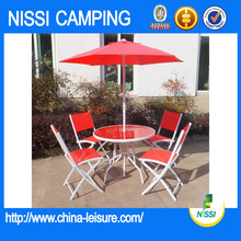 High Quality Steel Patio Folding Red Garden Furniture Set For Sale
