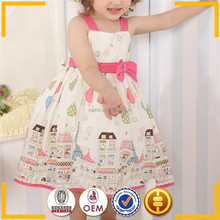 Casual Baby dress Buildings printed lovely dresses for girls Baby dress pictures