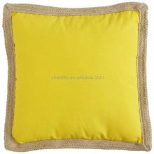 Custom Pantone color yellow screen printing sofa decorative pillow cover with braid,100% natural linen pms cushion cover
