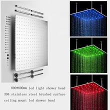 """Big size 31"""" stainless steel brushed led shower heads light"""
