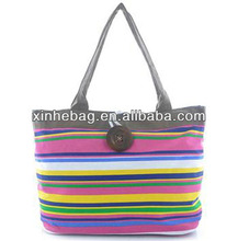 strip pattern Canvas shopping bag with button