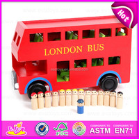 2015 Red color london bus toy for kids,Education city games wooden car model toy bus,Children Wooden London Red bus Toys W04A161