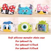 2014 3D Festival Gift Cute Cartoon Animals Monster/mouse Chain bag soft silicone case For iphone 5 5s/6 4.7inch/6 plus 5.5inch