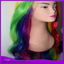 Colorful Fan Wigs, Synthetic Lace Wig, Custom Hair Packaging Boxes For Party Holiday