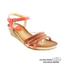 China manufacturer ankle strap open toe craft sandal wedges high heel sandal 2014
