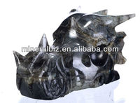 "6.3"" good quality labradorite stone dragon head (4O90)"