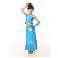 Children's Peacock dance dress Dance suit minority costumes for young children's performance