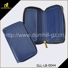 New Zipper Genuine Leather Blue Coin Purse With Hot Stamp Logo