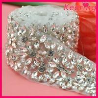 crystal custom embellishment wholesale iron on rhinestone appliques for bridal wedding accessory WRA-582
