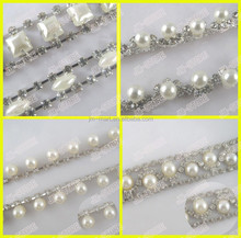 New Popular Bling,bling Hot Sale Crystal Bead Pearl Trimming for Women's Clothing Dressing