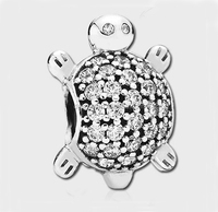 New arrived 925 sterling silve animal charm oxidation big hole tortoise bracelet charm