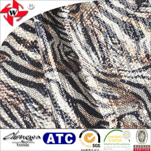 Black and White Polyester Tiger Stripes Sequined Jersey Knit