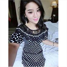 Manufacture custom printed dress cap sleeve chiffon wedding dress korean style women clothing