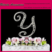 Custom -made Cake Topper Accessory crystal wedding party Letter Y Rhinestone Cake Topper Accessory