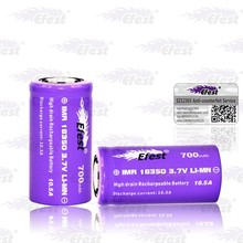 Hot efest battery efest purple 18350 battery imr 18350 700mah 3.7v rechargable purple battery