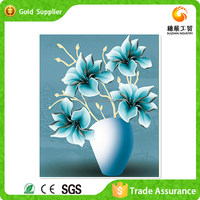 Latest design hand made gift gemstone drawing flowers in vase modern painting