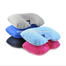 Hot selling Multi-color U shape inflatable travel neck pillow travel neck pillow folding travel pillow