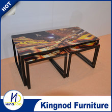 Paint flower top glass and painted frame coffee table