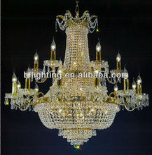 Gold plated candle big crystal luminaire