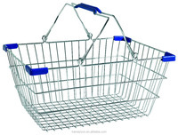 Wholesale Chrome plated metal wire spuare shopping basket