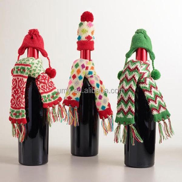 Navidad botella de vino tapa de la cubierta y decoracion bufanda tejida a mano regalo estupendo
